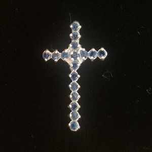 Last One! Crystal CROSS sterling silver Pendant